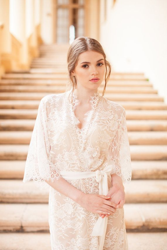 cd86324e9bb The Swan Queen lace   silk bridal robe is our best seller and has been  featured in Brides Magazine   Style Me Pretty wedding blog. Luxurious kimono  robe ...