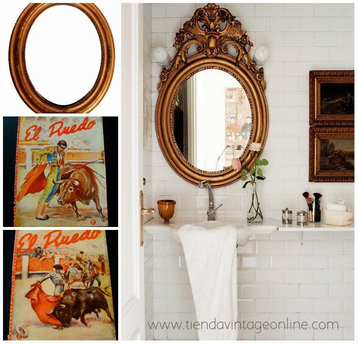 bao blanco con espejo dorado vintage