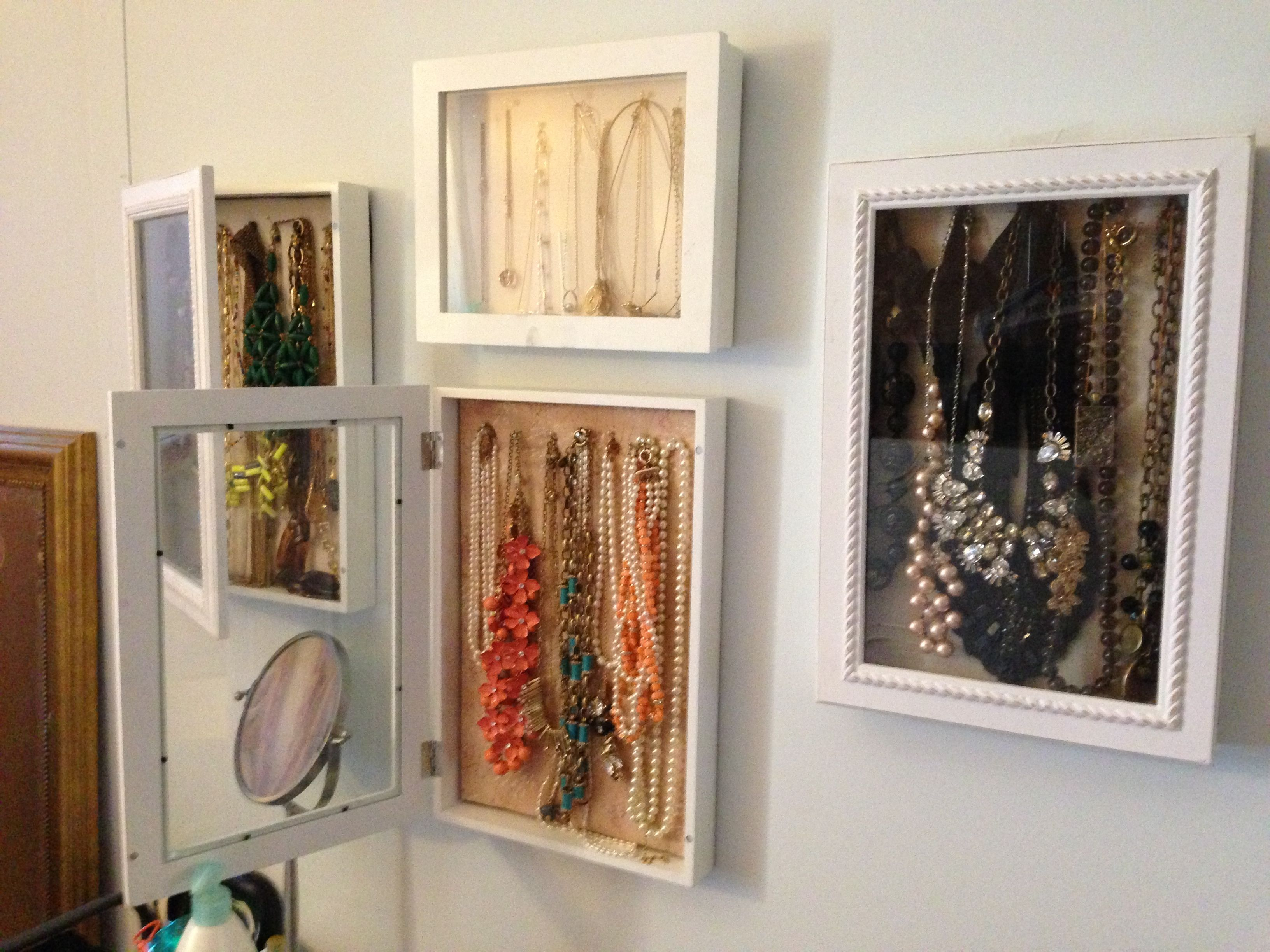 DIY jewelry storagedisplays Hinged shadow box frames found at TJ