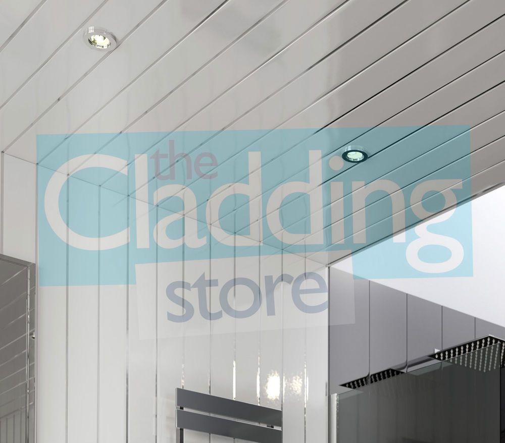 8 Gloss White Chrome Bathroom Wall Cladding Ceiling Kitchen PVC Plastic  Panels