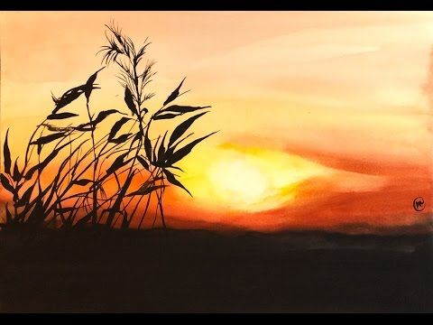 Easy Watercolor Sunset Painting Demonstration Watercolor Sunset