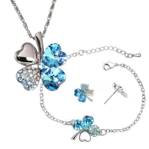 a1c4fab2ebb01 18k Gold Plated Swarovski Crystal Heart Shaped Four Leaf Clover ...