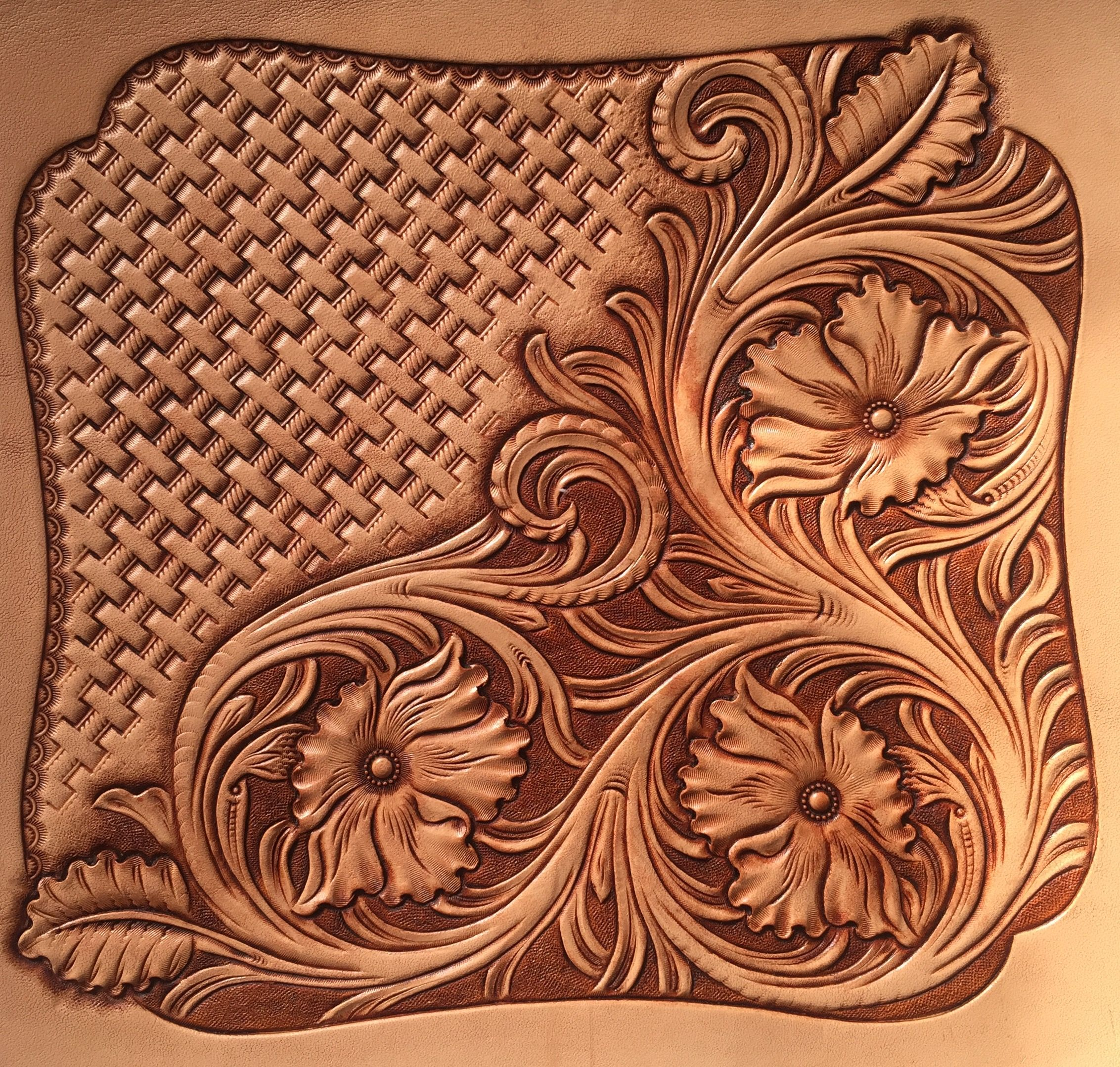 Traditional pattern leather carving art
