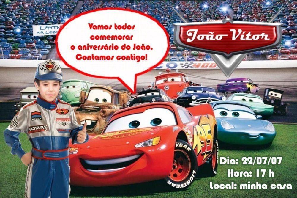 Convite digital personalizado Carros da Disney com foto 002