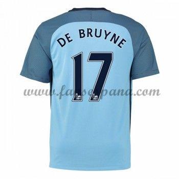 Camisetas De Futbol Manchester City De Bruyne 17 Primera Equipación 2016-17