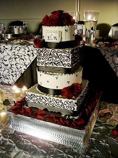 Black + White Damask Buttercream Wedding Cake – A Piece of Cake ...