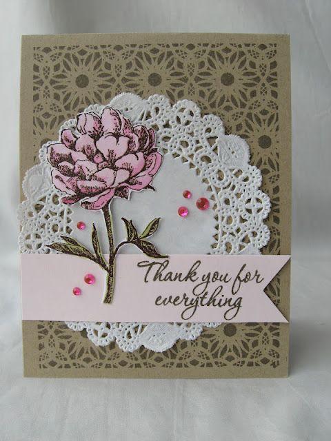 Doily Thank You Card by @Anita Recksiedler