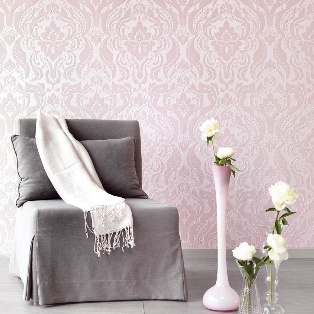 Pink Damask Wallpaper Bedroom Pink 322041 Damask Flock Chic Eijffinger Wallpaper