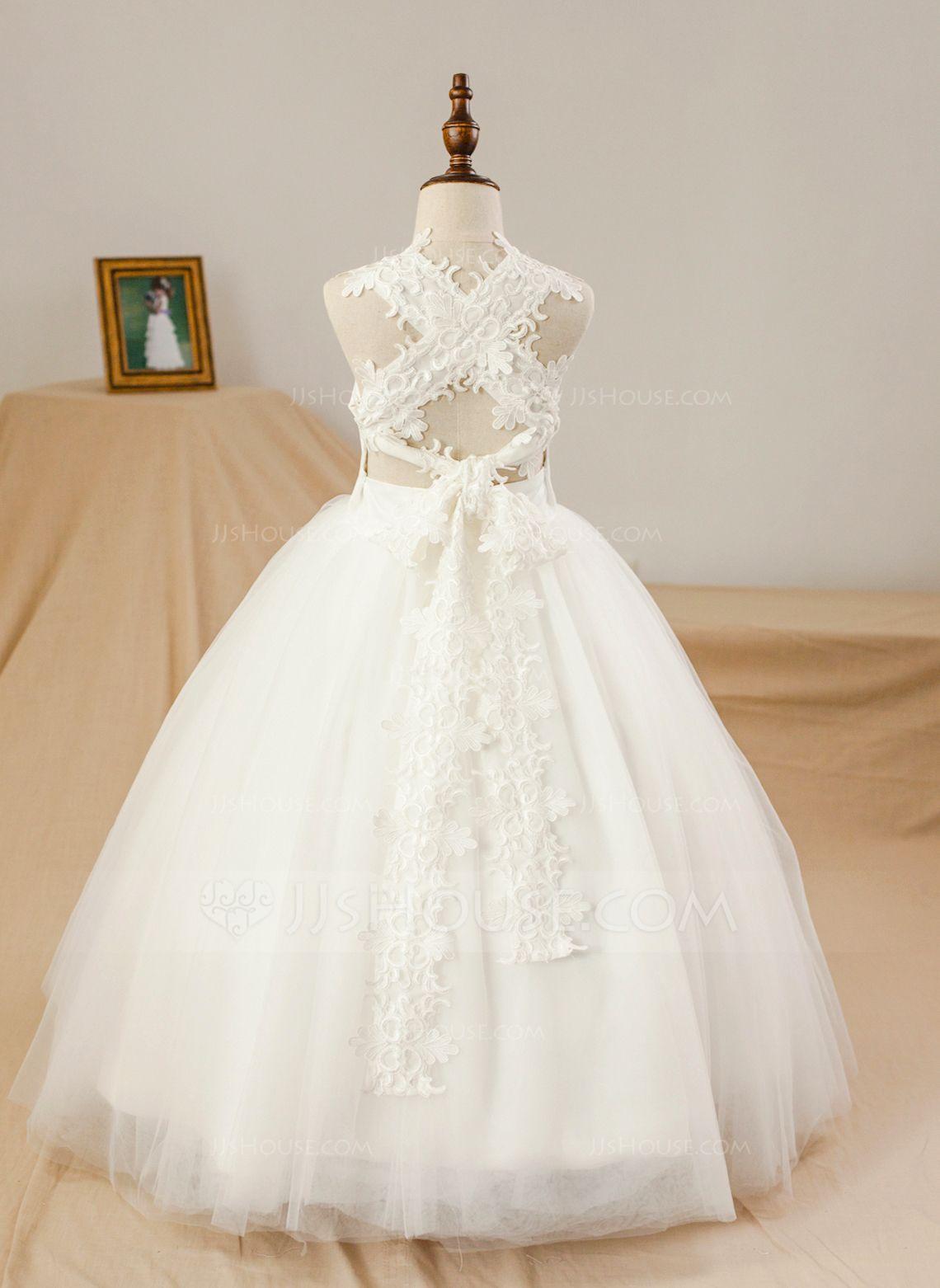 Jjshouse Ball Gown Floor Length Flower Girl Dress Satin Tulle