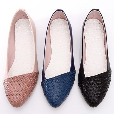 BN Casual Ladies Pointed Toe Braided Ballet Flats Ballerina Loafers Slides Shoes