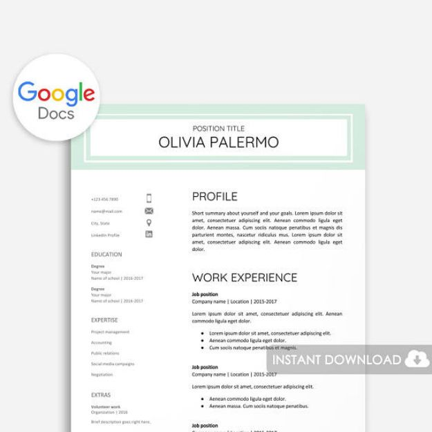 Polished and Fresh Google Docs Resume Template Use These 29 - google docs resume templates