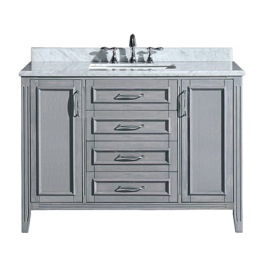 Pics Of OVE Decors Daniel Grey Undermount Single Sink Birch Bathroom Vanity with Natural Marble Top Common
