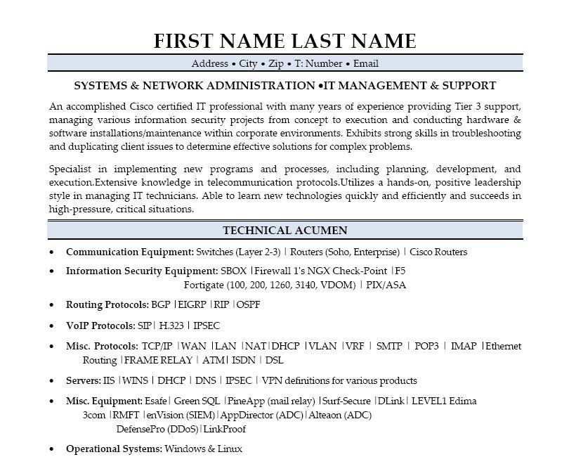 System Administrator Resume Examples Network Administrator Windows