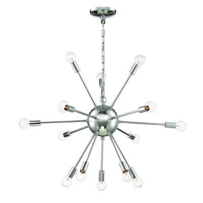 Eurofase 20 In 14 Light Chrome Hardwired Abstract Standard Chandelier