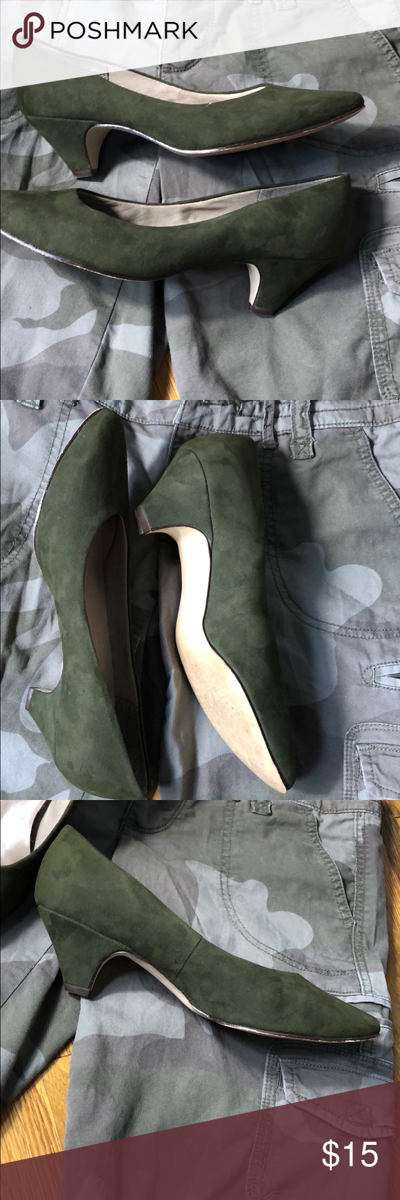Vintage suede army green pumps size my posh closet pinterest