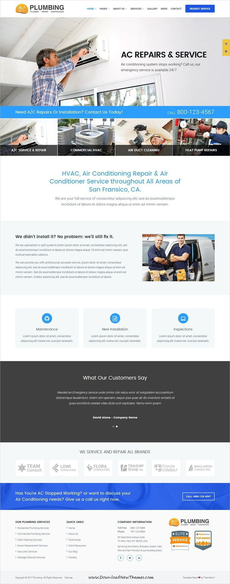 Plumbing Plumber And Repair Services Maintenance Html Template Plumber Web Design Examples Plumbing Companies
