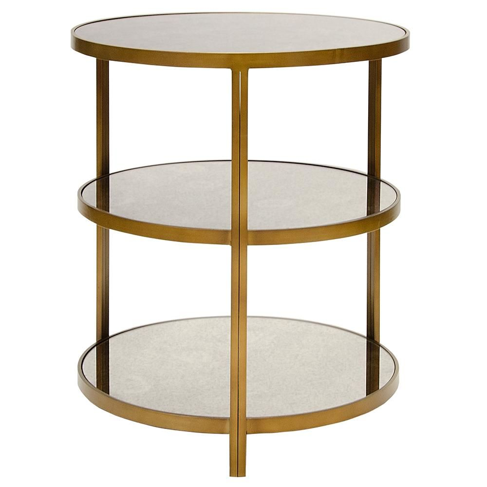 Worlds Away 3 Tier Side Table With Antique Mirror Tops Antique