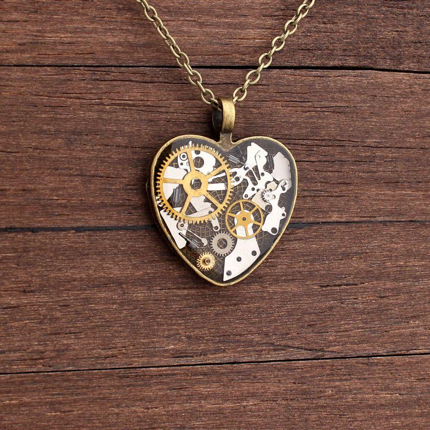 Artist creates beautiful steampunk jewellery made from old watch artist creates beautiful steampunk jewellery made from old watch parts mozeypictures Gallery