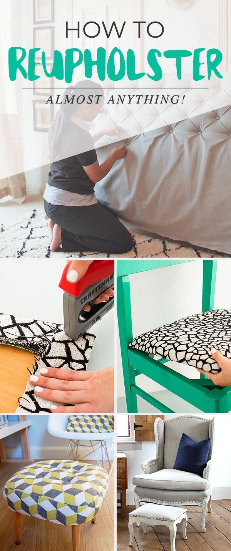 How to Reupholster Almost Anything   Stuhl, Diy möbel und DIY und ...