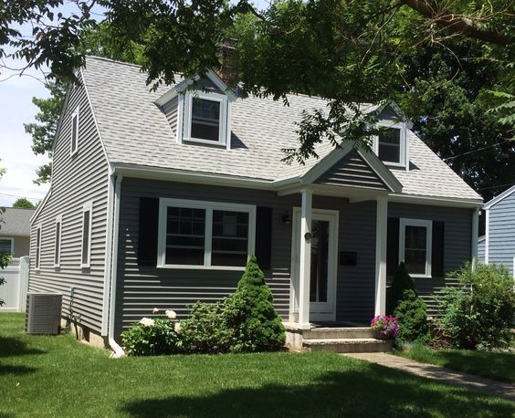 Black Shutters White Trim And Windows Dark Grey Siding House Paint Exterior Cottage Exterior Outside House Colors