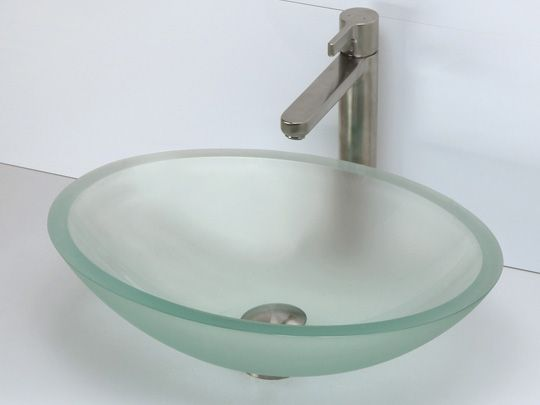 Oval Tempered Glass Vessel Sink   Frosted Natural Glass