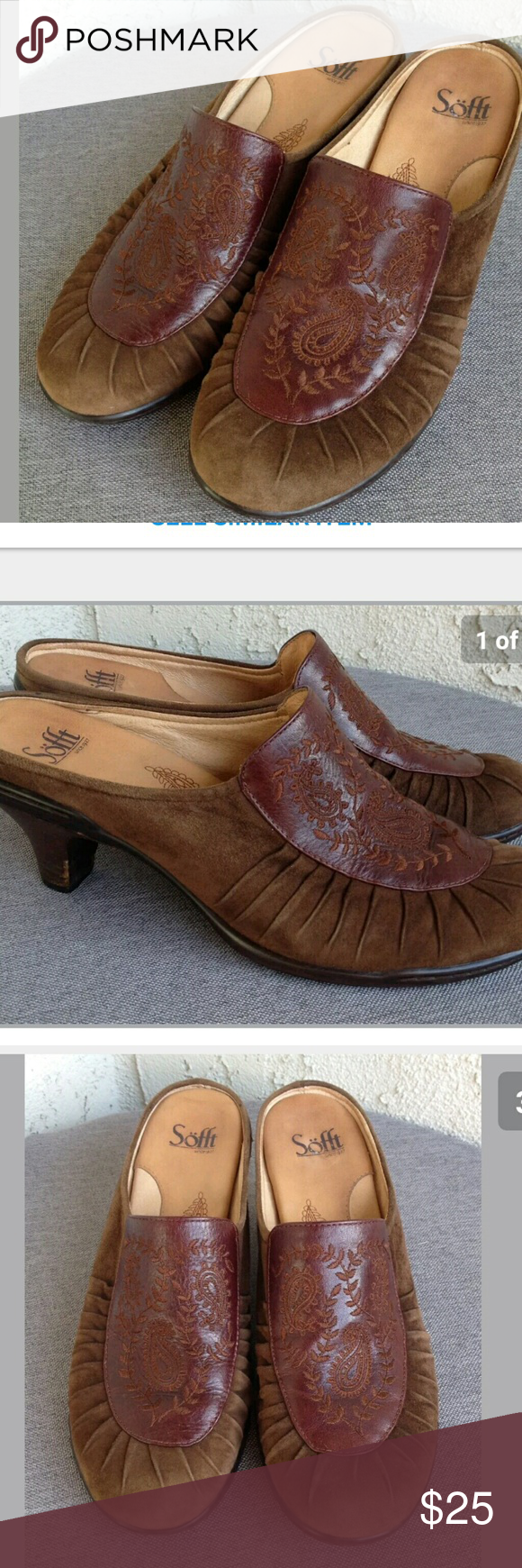 pin sofft leather m mules and heeled brown comforter clogs tooled suede comfort shoes