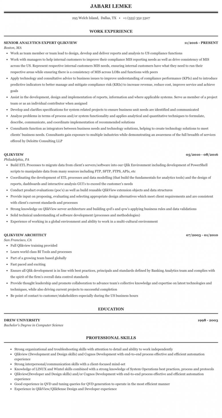 12 Qlikview Pattern Resumes First Job Resume Resume Job Resume