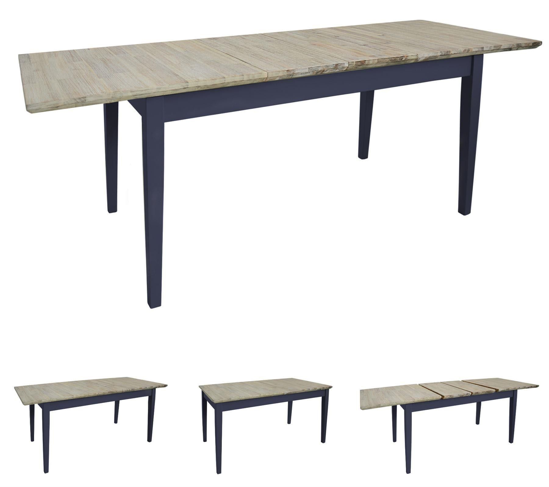 Florence Large Rectangular Centre Extension Kitchen Table 140 170 200 Navy Blue Kitchen Dining Blue Kitchen Tables Dining Table In Kitchen Kitchen Table