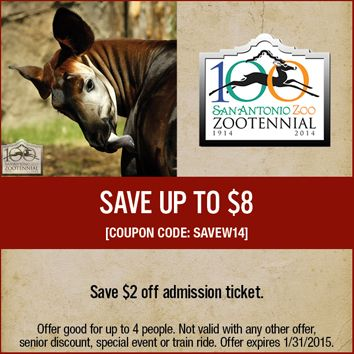San Antonio Zoo Coupon Expires 1 31 2015 Zoo Coupons San