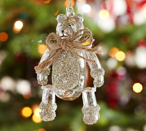 German Glitter Mercury Glass Teddy Bear Ornament Pottery