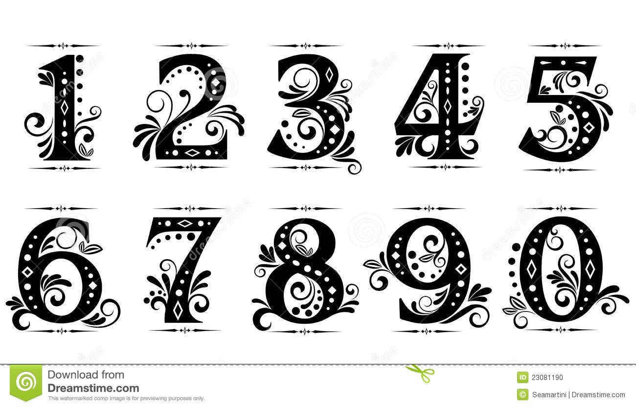 Vintage Number Fonts Fancy Numbers Fancy Numbers Fonts Numbers Font