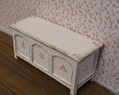 Dollhouse  Blanket Box, ,  distressed white with rose bouquets,  Twelfth scale dollhouse miniature