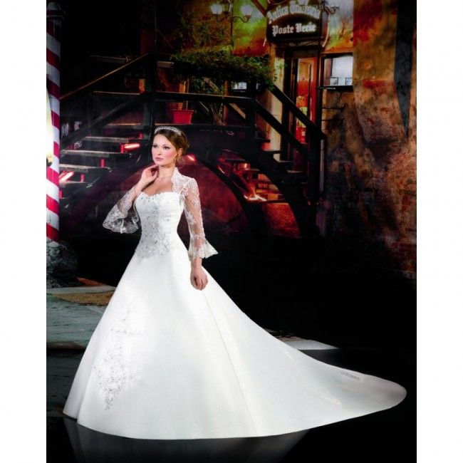Graceful Satin A-line Strapless Spring Long Sleeve Lace Empire White Wedding Dresses