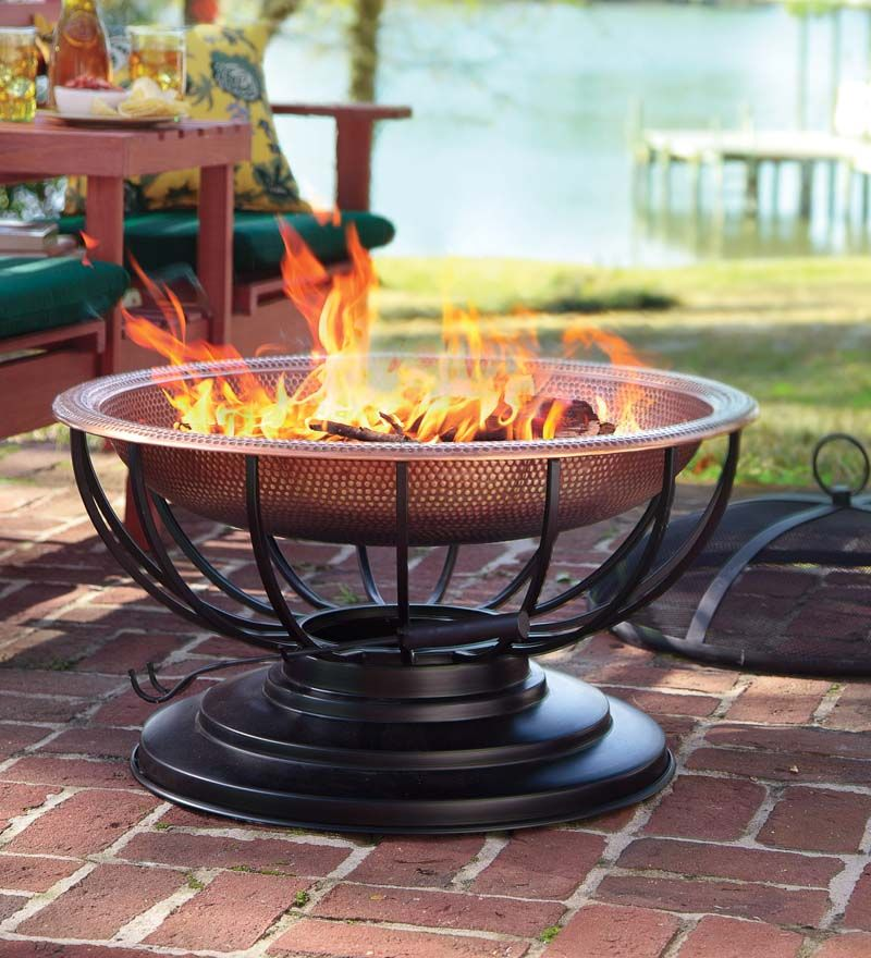 Solid Hammered Copper Fire Pit With Lid Converts To Table Love This And How Becomes A Table When Not In Use Fire Pit With Lid Copper Fire Pit Fire Pit Sets