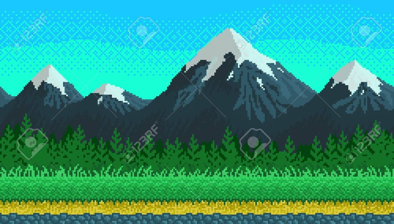 Pixel art mountains, grass and clouds seamless background for game lanscape or application. Illustration , #Ad, #grass, #clouds, #mountains, #Pixel, #art