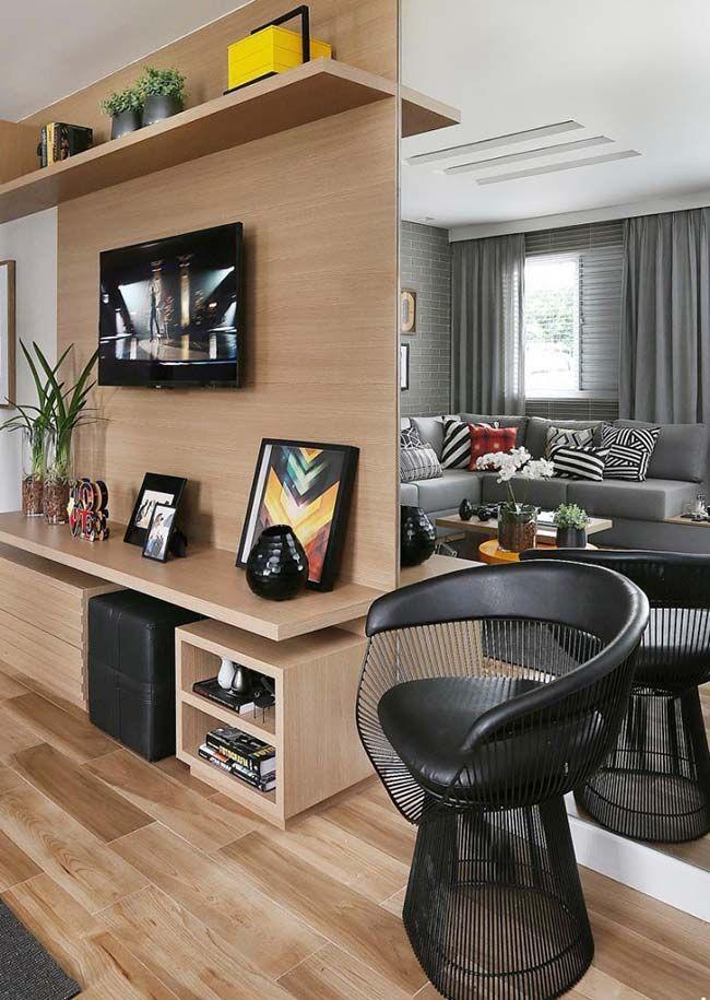 Rack para sala pequena amadeirado com painel e prateleiras CASA&Decora Decoraç u00e3o sala  -> Decoração Rack Para Sala Pequena
