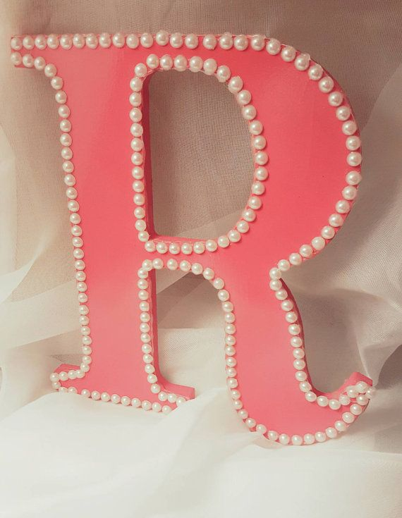 Wooden letter r for girl 39 s room pearl decor pearl letters pearl accents bedroom decor wall - Wall decoration with pearls ...