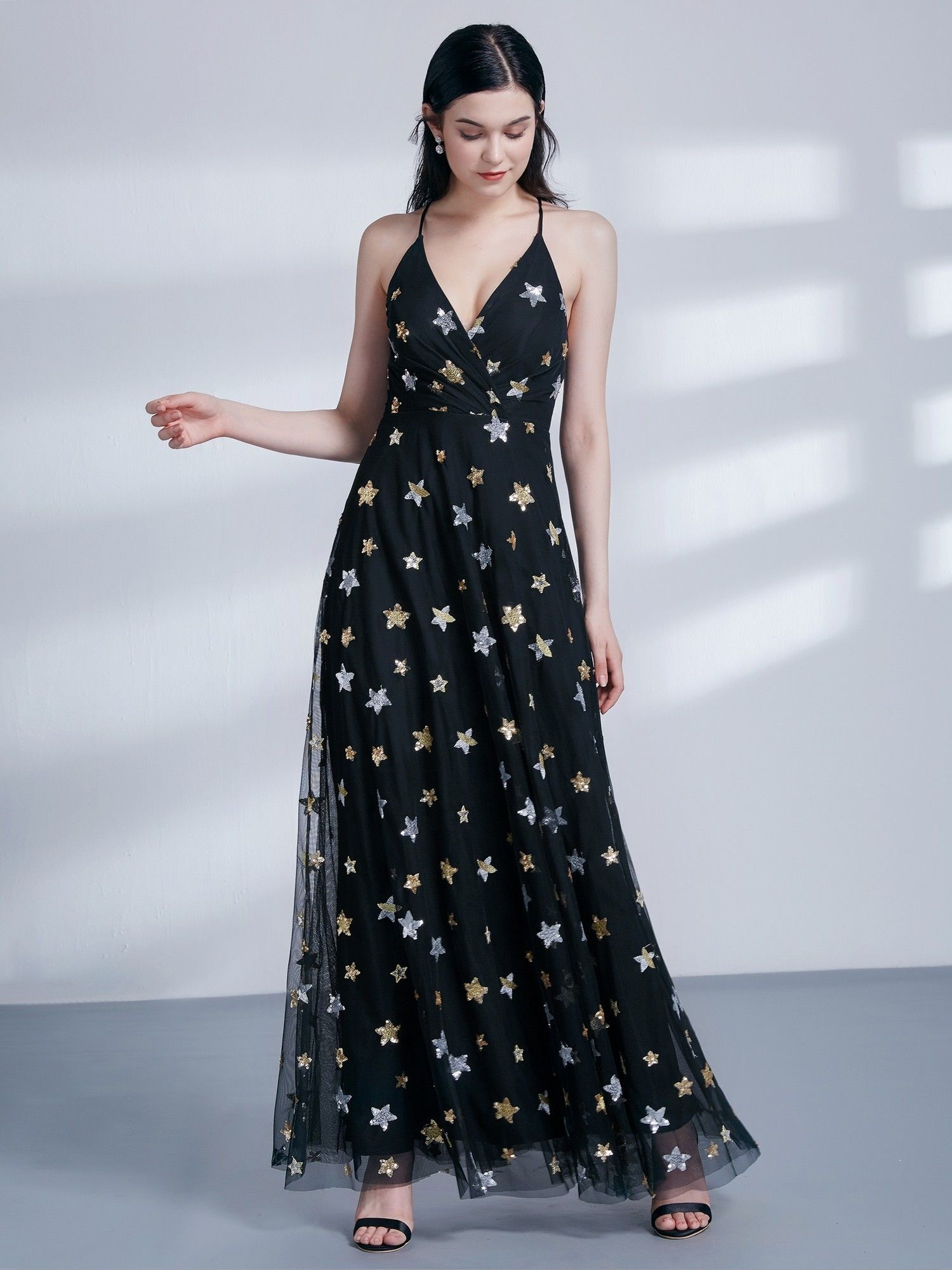 Star Print V Neck Long Party Dress in 2019  726cf0a96d72
