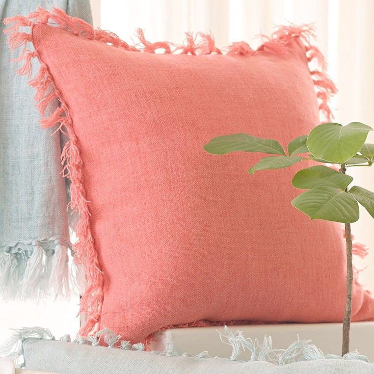 Pine Cone Hill Laundered Linen Coral Decorative Pillow Sarah Cool Pine Cone Decorative Pillows
