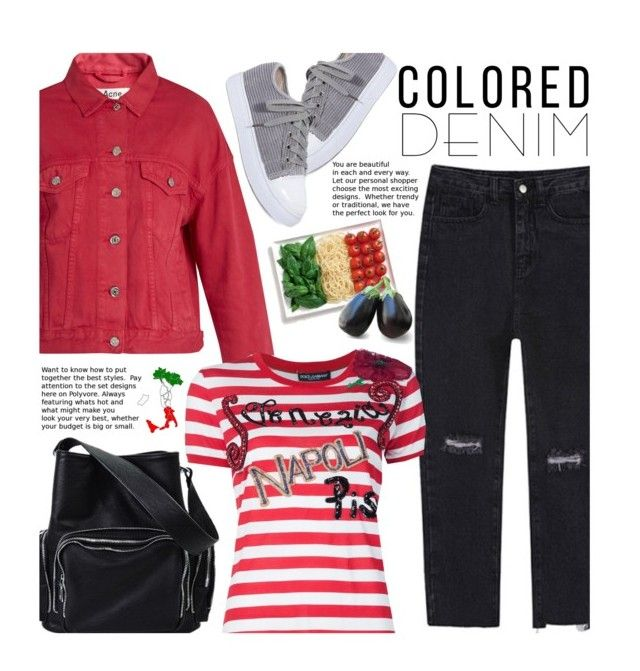 """""""Pack And Go: Italy (Colored Denim Casual)"""" by beebeely-look ❤ liked on Polyvore featuring Acne Studios, Dolce&Gabbana, WHATEVER, casual, stripes, coloredjeans, Packandgo and twinkledeals"""