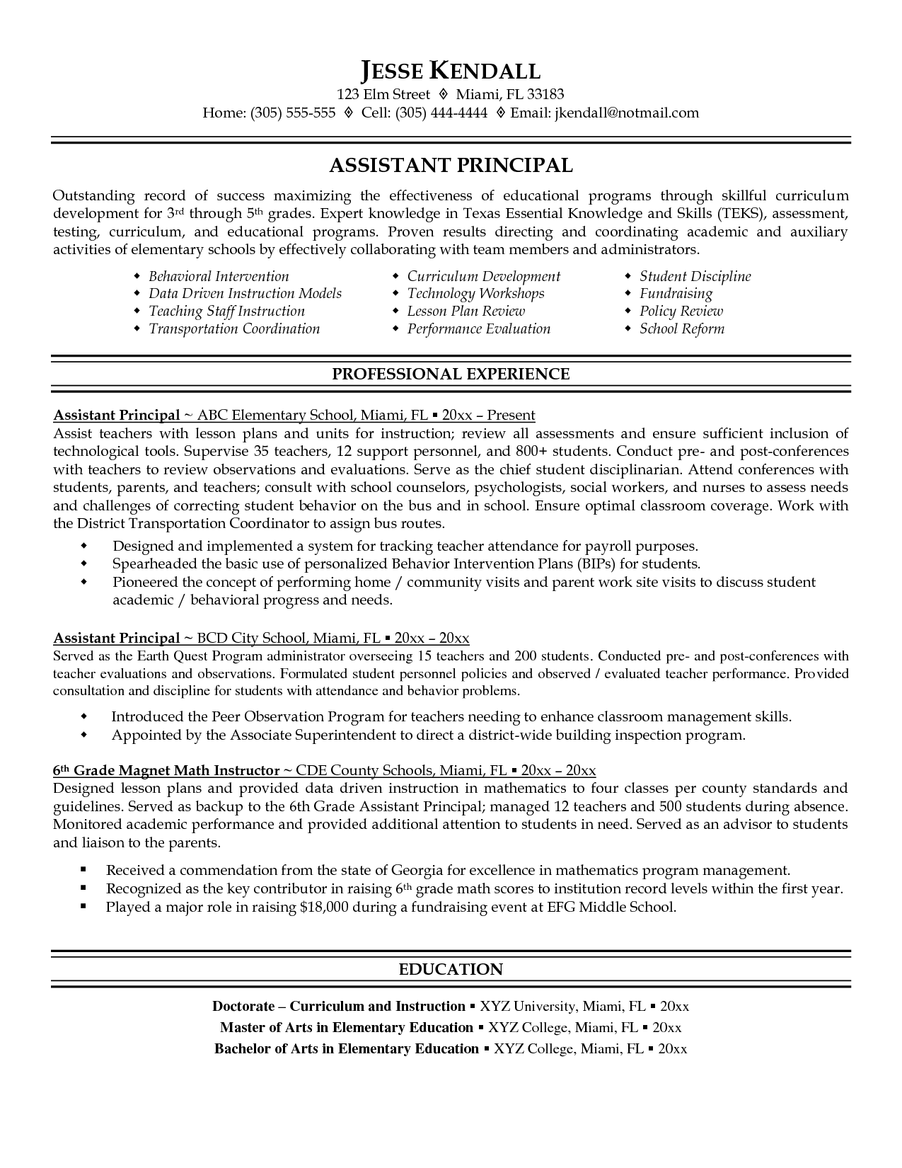 Assistant Principal Resume Sample Education Resume Professional Resume Samples Teacher Resume