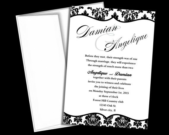 Wedding Invitation Template  Black And White Damask Blank Wedding