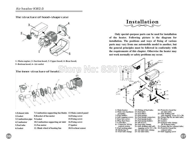 Installing And Using Manual 2kw 12 24v Air Parking Heater Webasto Type Heater Installation Manual