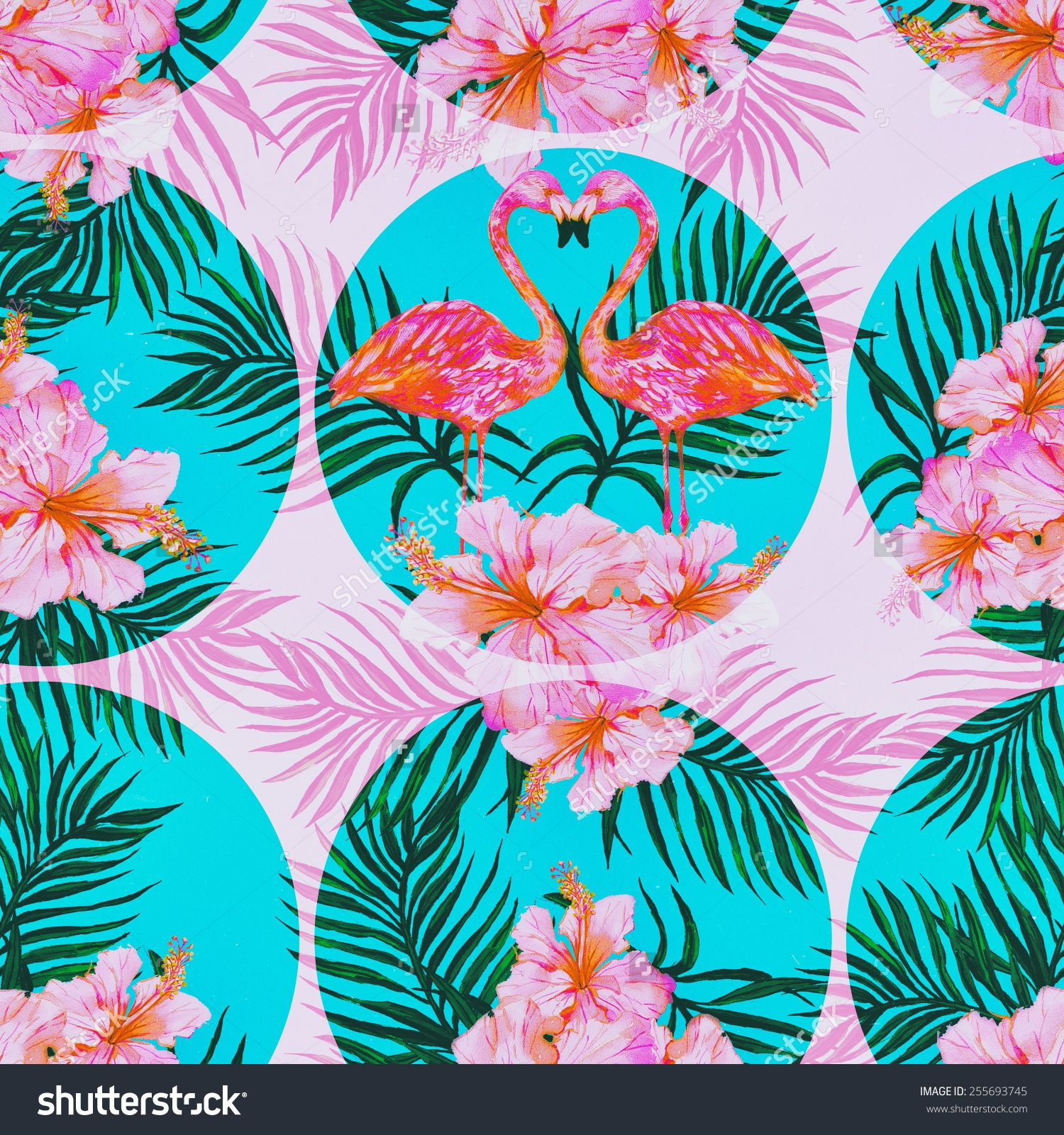 Vintage Style Tropical Bird And Flowers Background: Beautiful Seamless Vintage Floral Pattern Background With