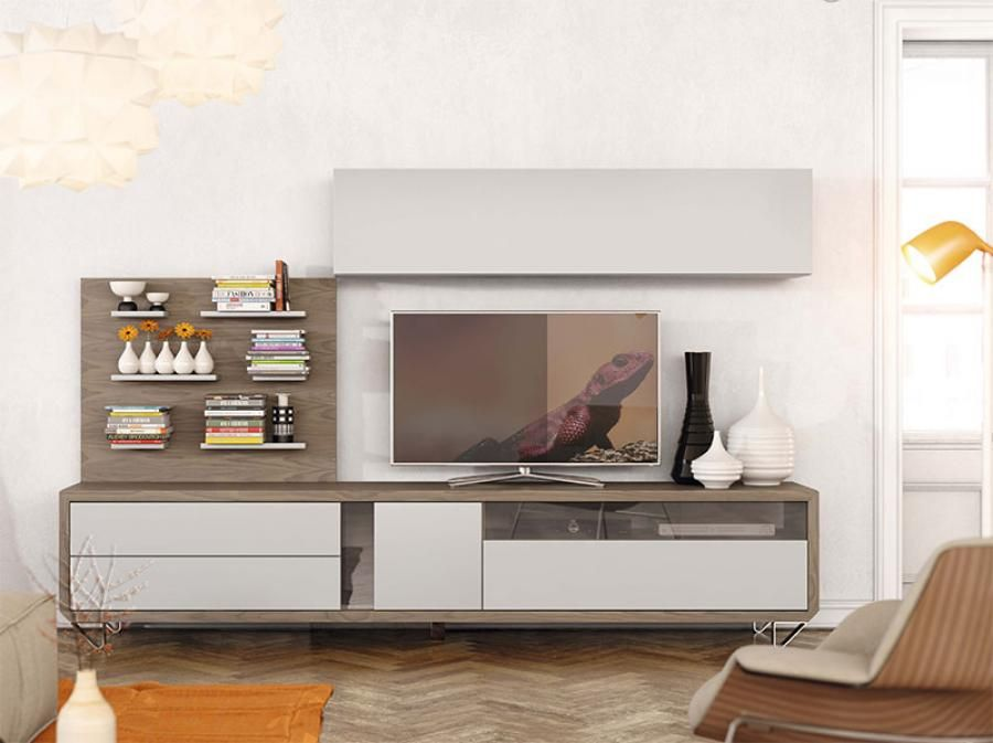 Natural Modern Wall Storage System with Wall Cabinets and TV Unit ...