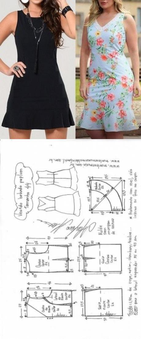Vestido com babado peplum na barra | DIY - molde, corte e costura ...