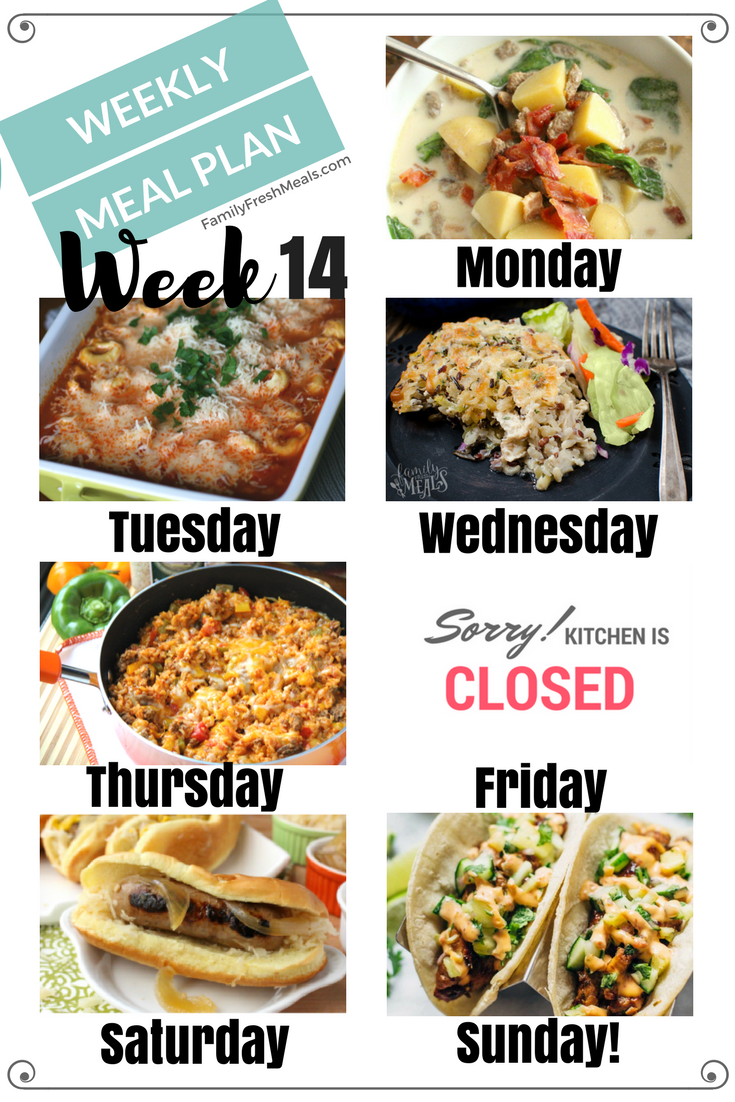 Easy Weekly Meal Plan Week 14 #weeklymealprep
