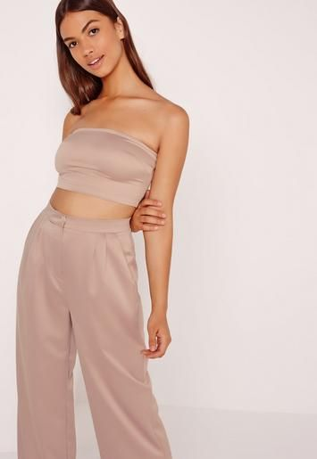 9cdc121d1e7 Bandeau Satin Top Nude - Missguided
