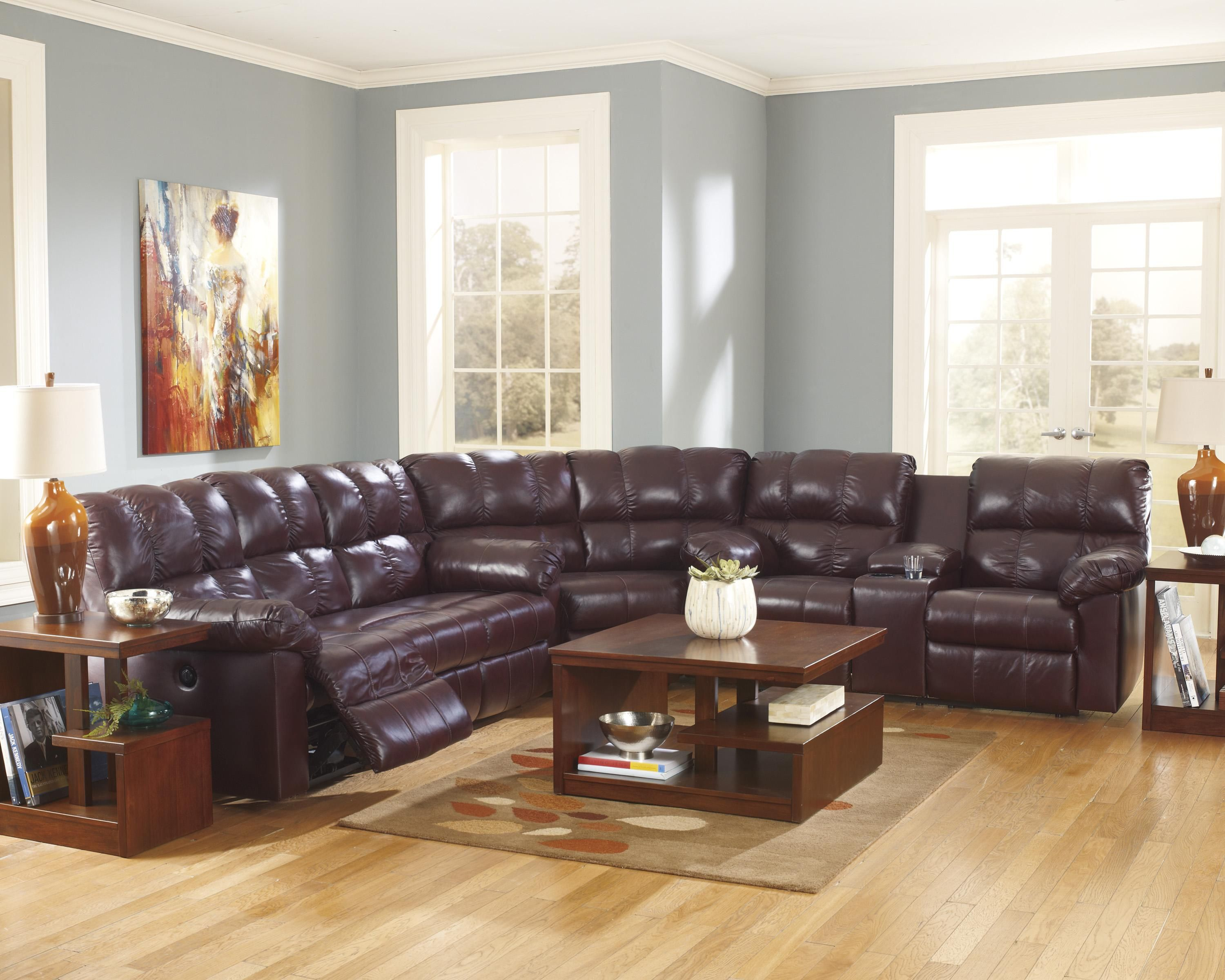 Kennard Burgundy Reclining Sectional Sofa by Ashley Signature
