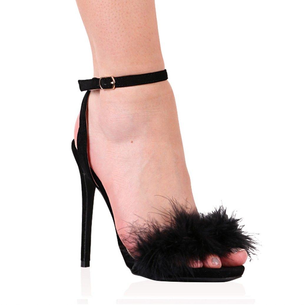 Lulu Fluffy Stiletto Heels in Black Faux Suede | Stiletto